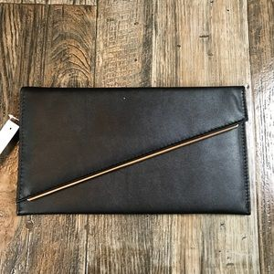 Asos Black Gold Trim Clutch Bag Snap Close